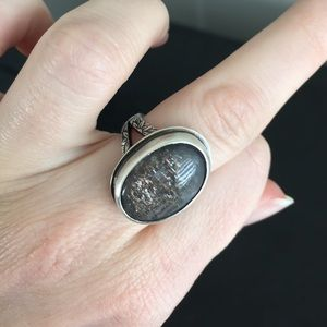 Gray Moonstone Floral Band Sterling Silver Ring
